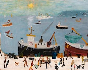 Evening Dock. Penzance.Artists High Gloss Print from an Original by Alan Furneaux