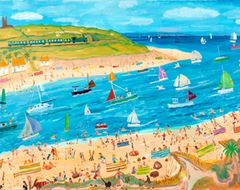 Best Summer Ever. Hayle. Artist High Gloss Print from an Original byAlan Furneaux