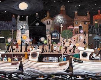 Newlyn Fish Festival.Cornwall. High Gloss Artist Print from an original by Alan Furneaux
