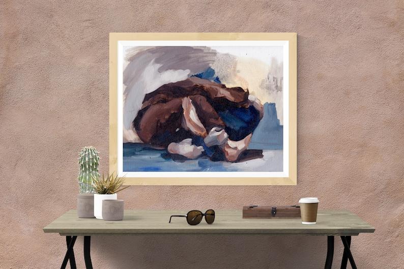 Rolling Couple. Jiu Jitsu Canvas Art Aesthetic. Giclee Print image 0