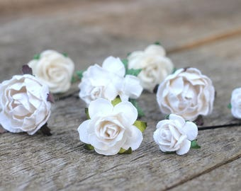 Flowers hair pins etsy flower hair pins white ivory flowers bobby pins flower bobby pins small white flowers wedding hair vine bridal bobby hair pins roses mightylinksfo