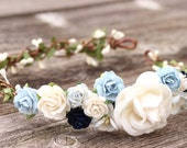 Flower crown wedding navy blue and white maternity floral crown headband