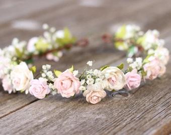 pink flower crown etsy