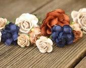 Taupe Bridal Hair Pins Navy Flower Hair Pins Khaki Wedding Hair Accessories, Flower Bobby Hair Pins, Beige Wedding Hair Pieces Brown Flowers