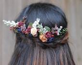 Flower Hair Pins, Winter Hair Pins, Christmas Hair Pins, Navy and Burgundy Hair Piece, Snowy Bobby Pin, Hair Piece Winter, Auburn deep red