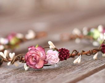 Blush Wedding Hair Crown - Bridal Headpiece Burgundy Wine Hair Crown - Blush Bridal Hair Headband - Flower Girl Crown Wedding Hair Piece