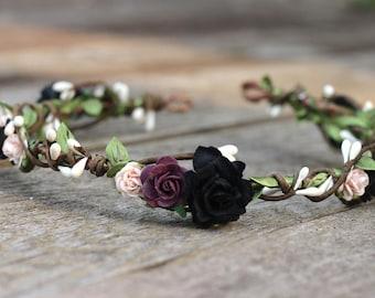 Floral Crown Purple Blush - Plum Flower Crown - Black Flower Crown - Blush Wedding Bridal Hair Crown - Fall Wedding Head Wreath Boho - Halo