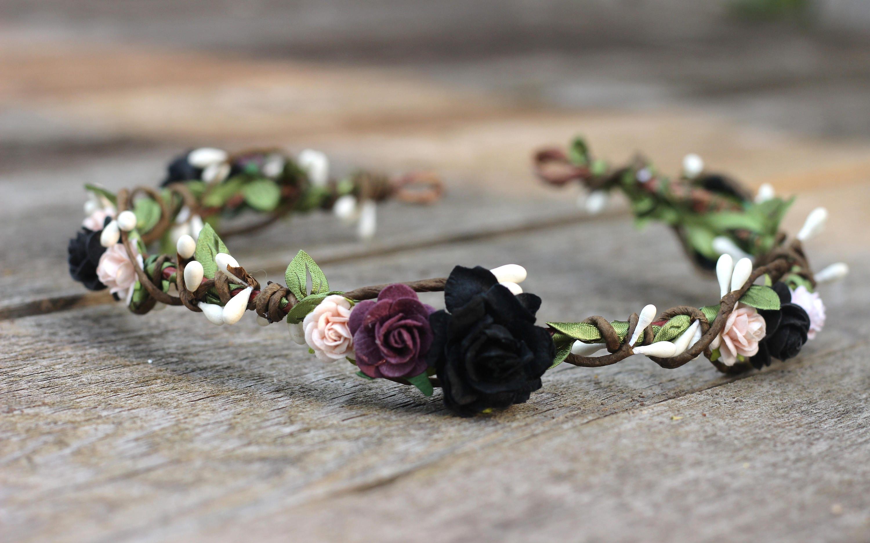 Floral Crown Purple Blush Plum Flower Crown Black Flower Etsy