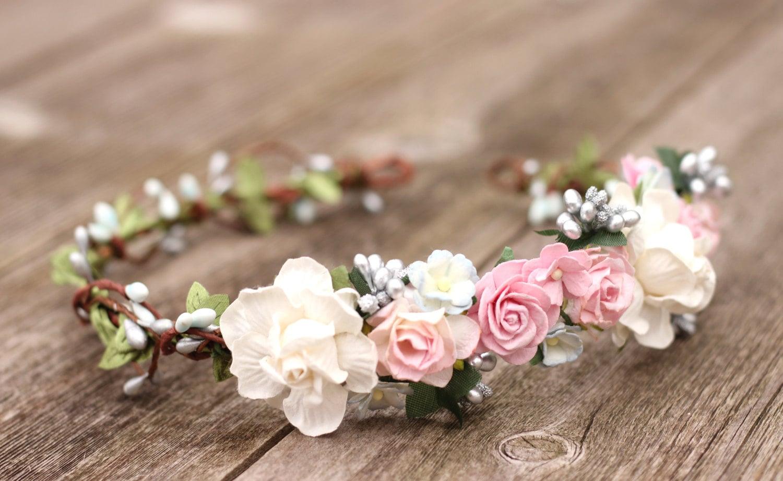 Wedding floral crown pink flower crown silver flower crown etsy zoom izmirmasajfo