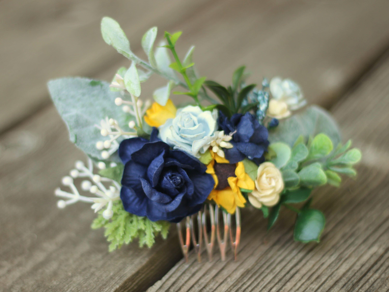 Eukalyptus Sonnenblume Haar Kamm Salbei Greenery Marine blau Braut Haar  Rebe getrocknete Blume Haar Kämme Elfenbein Floral Haarstück Braut Baby Atem