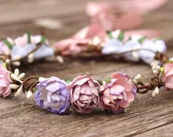 Lilac Flower Crown, Mauve Flower Crown, Purple Lilac Flower Headpiece, Bridal Floral Hair Wreath, Boho Bridal Hair Crown, Plum Wedding Crown