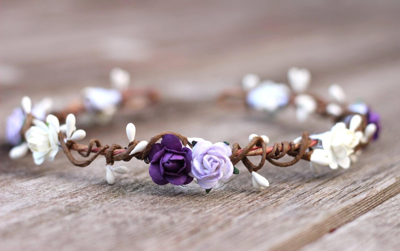 Wedding Headband Purple Flower Crown Lavender Flower Crown Etsy