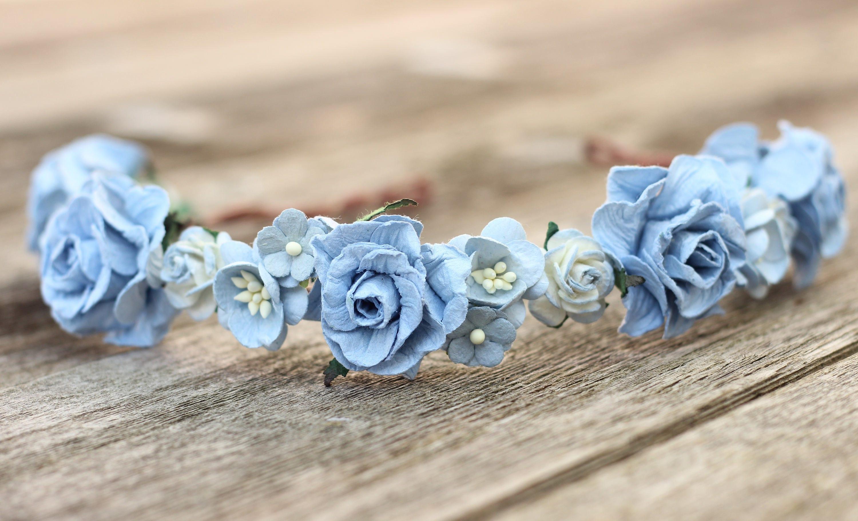 Hair crown light blue flower crown wedding headpiece girls etsy zoom izmirmasajfo