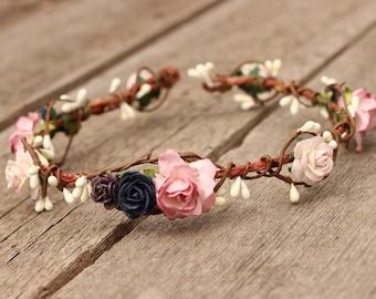 Blush Wedding Flower Crown Headband -  Floral Crown Plum - Wedding Hair Crown -  Head Wreath - Wedding Navy Hair Wreath - Maternity Boho