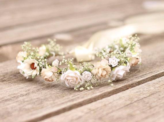 Dusty pink flower crown Bridal crown Baby/'s Breath Real Dried Flower Crown Elegant flower headband Wedding Crown Preserved flower crown