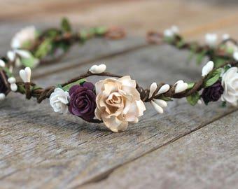 Floral Crown Earth Tone Hair Wreath Plum Flower Crown Champagne Wedding Ivory Bridal Hair Purple Wedding Head Wreath Boho Hair Wreath White