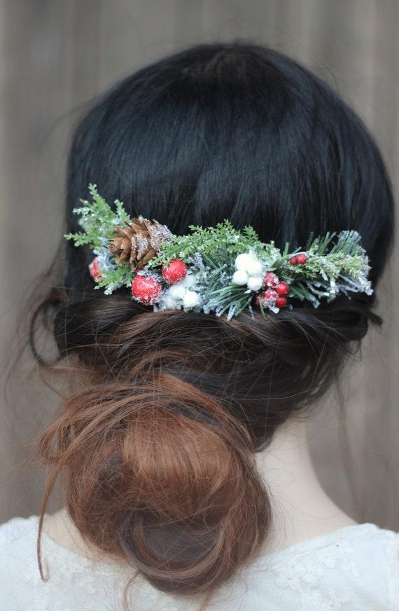 Christmas Hair Comb, Winter Hair Piece, Snowy