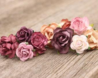 Dusty Mauve Burgundy Plum Flower Hair Pin set, Wedding Hair Accessories Floral Hair Pins, Hair Piece, Hair Clip Flower, Bridal Bobby Pins