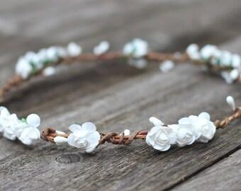 White Flower Crown Headband, Flower Crown Wedding, White Floral Crown, Bridal Headpiece, First Communion, Flower Girl Crown, Hair Wreath