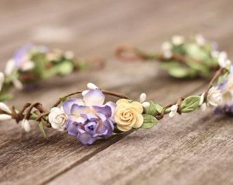 Plum Flower Crown, Purple Flower Crown, Floral Hair Piece, Bridal Hair Piece, Cream Wedding Flower Crown, Floral Head Wreath, Hair Wreath