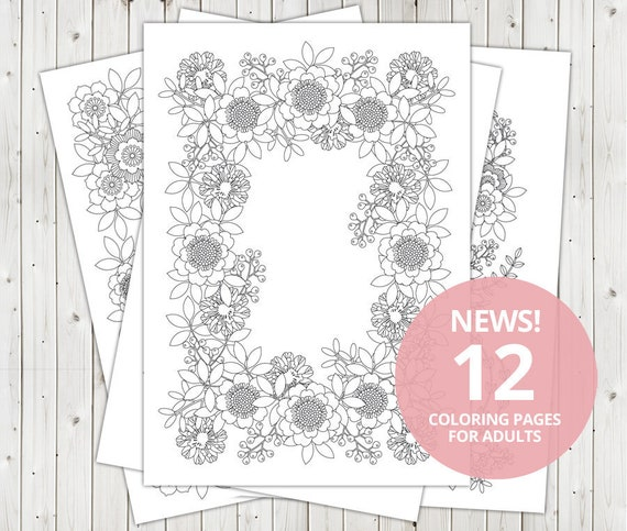 12 Adult Coloring Pages For Adult Digital Coloring Pages Etsy