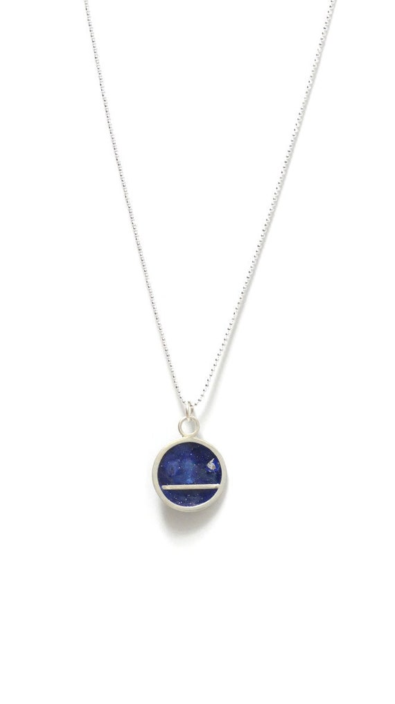 Midnight Blue Silver Leaf Necklace