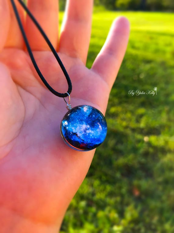 Resin Art Jewelry Gift Her Cosmos Pendant Resin Sphere Pendant Bofo Resin Necklace Galaxy Necklace 3D Resin Necklace Space Necklace