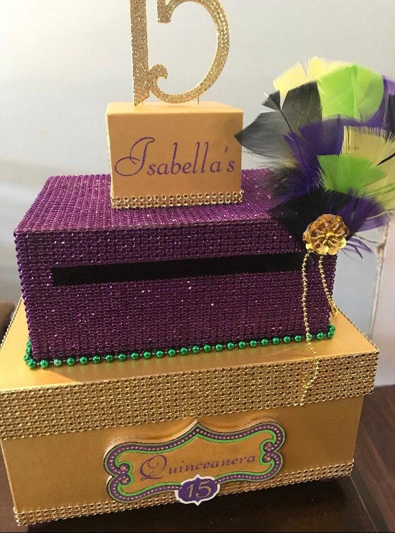 quinceañera mardi gras card box  etsy
