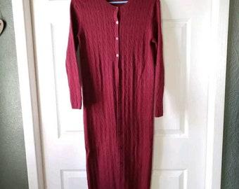 4cf7d3e738 Sz PS - Talbots Petites 100% merino wool cranberry red knit sweater duster  cardigan
