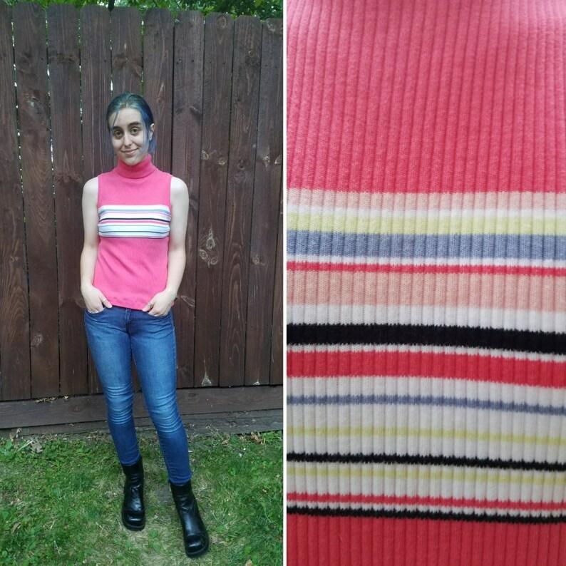 Sz S-L    Carolyn Taylor Essentials pink striped ribbed knit  a516853b8