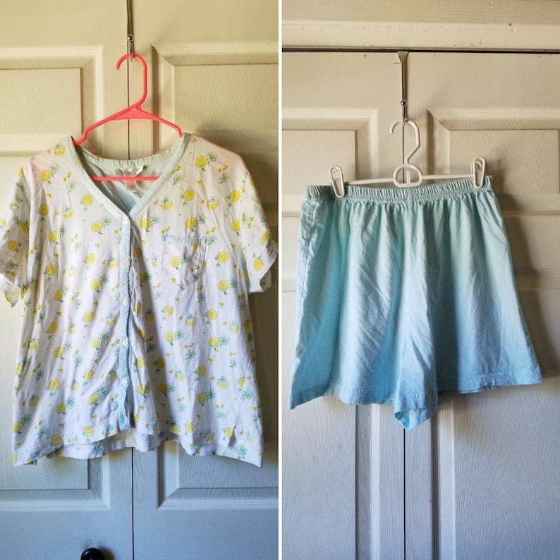 fruity lemon blue gingham plaid shorts shirt cute 50/% OFF CLEARANCE  sz XL Carole Hochman New York women/'s two-piece pajama set