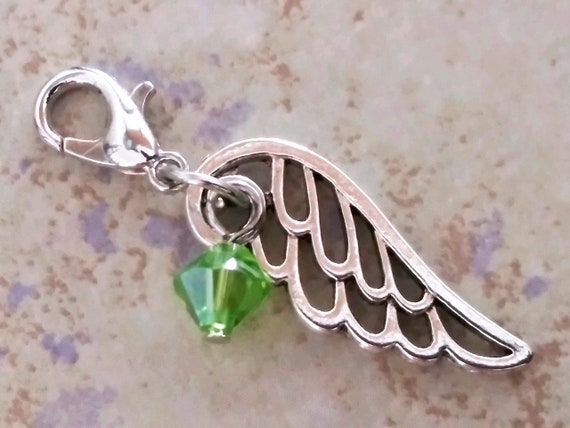 August Birthstone Charm-Angel Stitch Marker-Planner Charm-Peridot Colored Green Glass-August Birthstone Charm-Lobster Clasp Charm Necklace Pendant-Zipper Pull-Lobster Clasp Angel-Birthday-Baby Shower