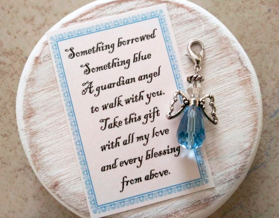 RESERVED Something Borrowed Something Blue Glass Wedding Bouquet Angel w/Card Wedding Dress Angel, Guardian Angel Bridal Shower Gift, Bride