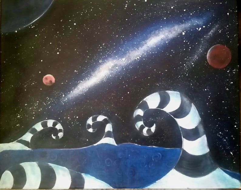 Acrylic Painting Wall Art Universe Galaxy Painting Surreal Painting