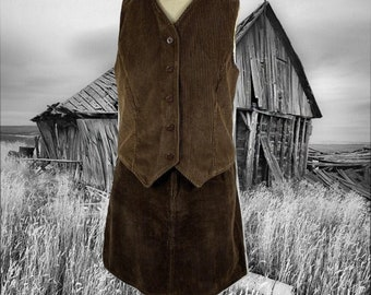 Small 1960s 1970s Alex Colman Chocolate Brown Velvet Vest with matching Skirt By Copperhive Vintage.