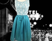 Vintage 50s Party Dress Turquoise Iridescent Taffeta With White Lace Overlay Bodice, Sleeveless, Taffeta Prom Dress, 1950s 1960s Party Dress