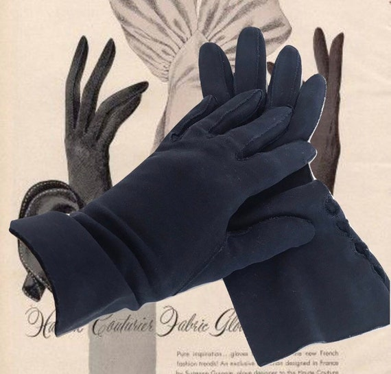 Vintage Cotton Gauntlet Gloves Ladies 50s Claire M