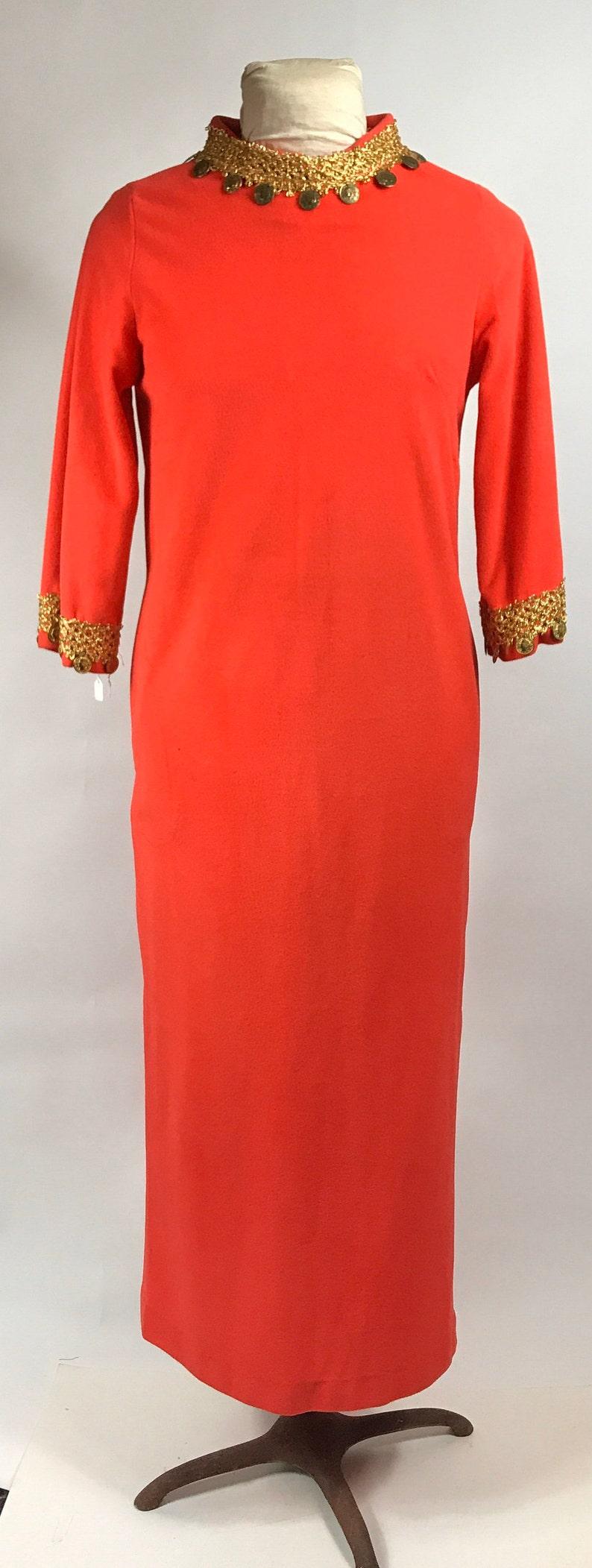 Vintage 1980s Janet Lynn Caftan Orange with Gold Braid and Coin Neckline and Trim Kaftan Long Dress Floor Length Loungewear
