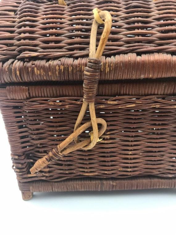 Vintage Rattan Handbag, Top Handle Straw Handbag,… - image 3