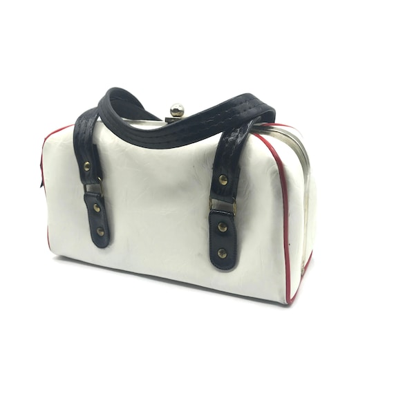 Vintage 1950s Handbag, Boxy Double Top Handle, Re… - image 1