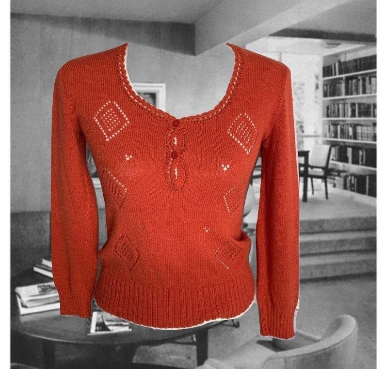 Spring Sweater Open Diamond Pattern Button Details Womens Size Small Medium Vintage Orange Knit Pullover Sweater Scoop Neck