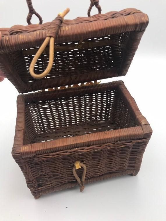 Vintage Rattan Handbag, Top Handle Straw Handbag,… - image 5