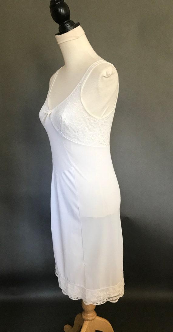 Vintage Full Slip Lingerie Ladies White Nylon Sli… - image 6