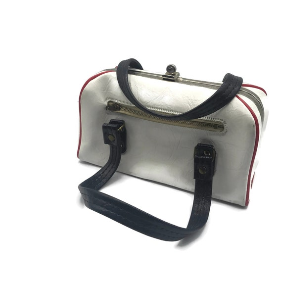 Vintage 1950s Handbag, Boxy Double Top Handle, Re… - image 10