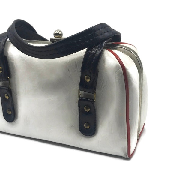 Vintage 1950s Handbag, Boxy Double Top Handle, Re… - image 3