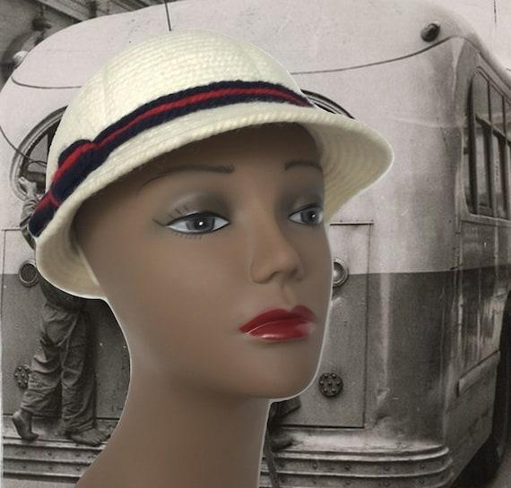 Vintage Miss Everitt Knit Hat Jockey Hat White Small Brim  61714e796e22