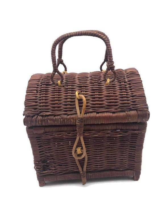 Vintage Rattan Handbag, Top Handle Straw Handbag,… - image 8