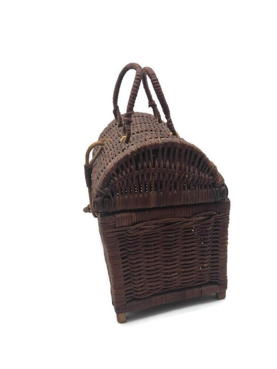Vintage Rattan Handbag, Top Handle Straw Handbag,… - image 6