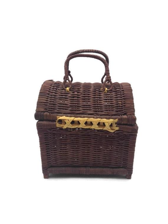Vintage Rattan Handbag, Top Handle Straw Handbag,… - image 9