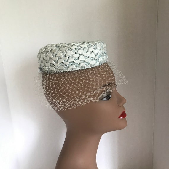 50s Small Blue Pillbox Hat Raffia with Ribbon and… - image 2
